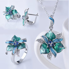 new Bohemian Style Jewelry Sets S925 silver Women Vintage green Enamel Flower Necklace Ring Earrings Jewelry Set(China)