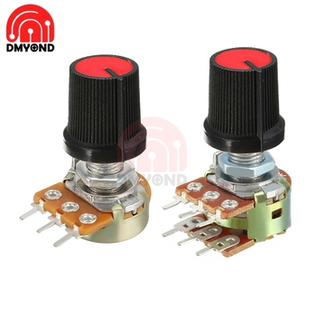 5PCS Red Color Rotary Potentiometer Linear Taper For Arduino Cap 1K 2K 5K 10K 20K 50K 100K 250K 500K 1M Ohm WH148 Knob Swtich image