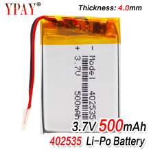 3.7V polymer lithium battery 402535 500mAh Rechargeable Li-ion Cell For GPS car recorder MP3 electronic dog MP4 MP5 Smart Watch 5x 3 7v lithium polymer 803565 mp5 navigation electronic dog radiotelephone 2800mah