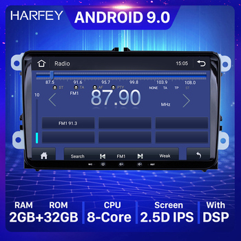 Harfey Car Multimedia Player Android 9.0 Auto Radio For Skoda/Seat/Volkswagen/VW/Passat b7/POLO/GOLF 5 6 2 din 4-core GPS Navi image