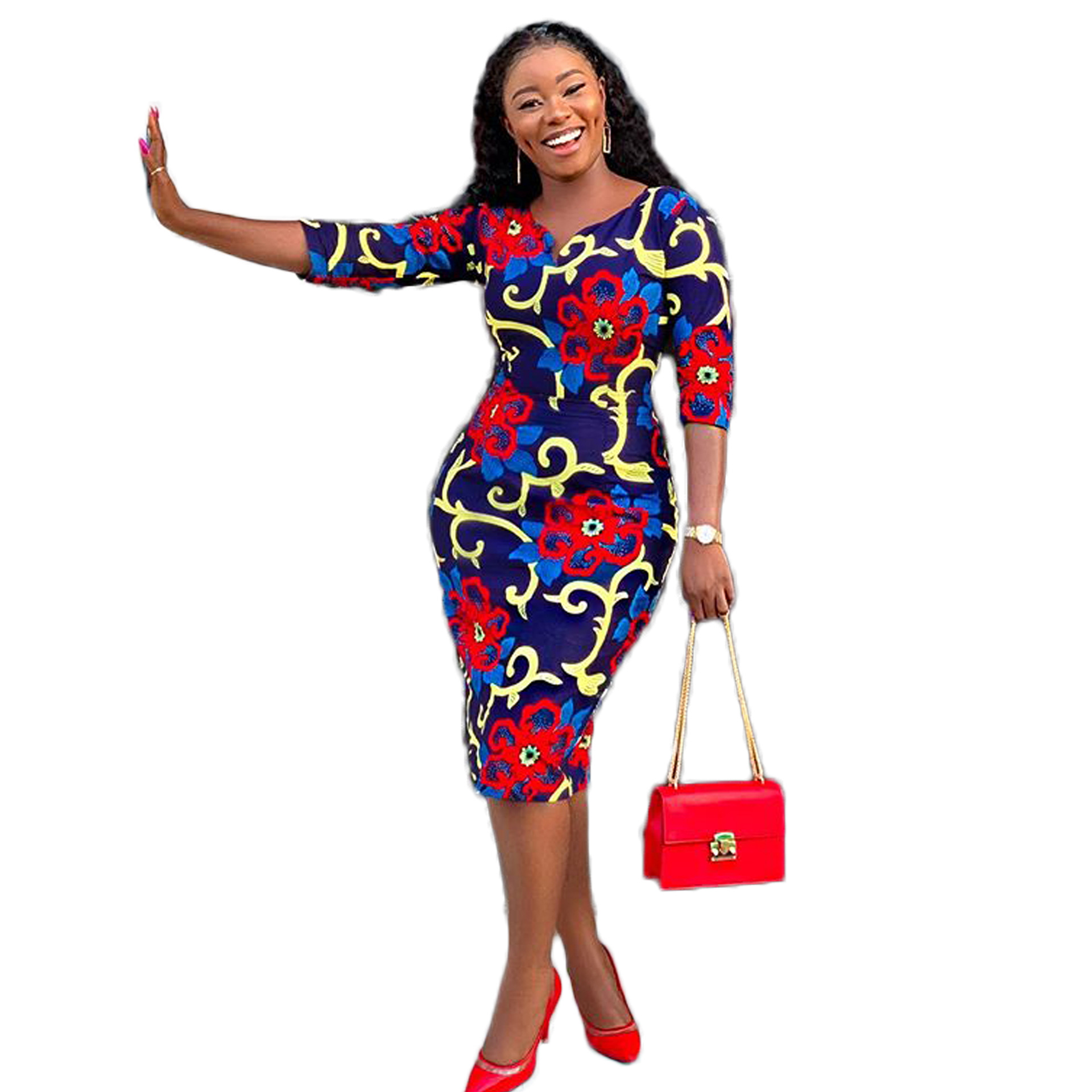 The new fall dress for women's wear 2019 is a fashionable, floral and ethnic v-neck dress with seven-minute sleeves