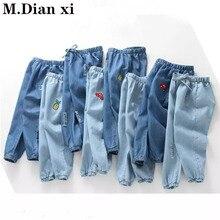 Весна-лето г. Детские джинсы летние противомоскитные штаны для мальчиков тонкие джинсы для девочек с мультяшной вышивкой От 2 до 6 лет