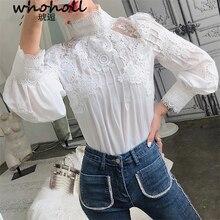 Mesh Lace Patchwork Shirt Female Stand Collar Lantern Sleeve Fashion Woman Blouses 2019 Autumn Korean Clothing