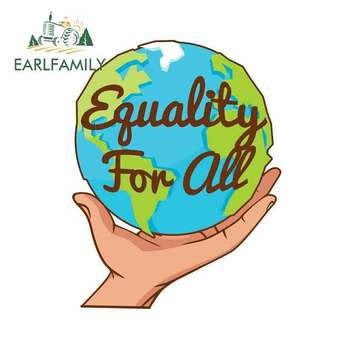 EARLFAMILY 13cm x 10.1cm For Equality For The World Fine Decal Waterproof Car Stickers Funny Graffiti Vinyl Material Decoration image