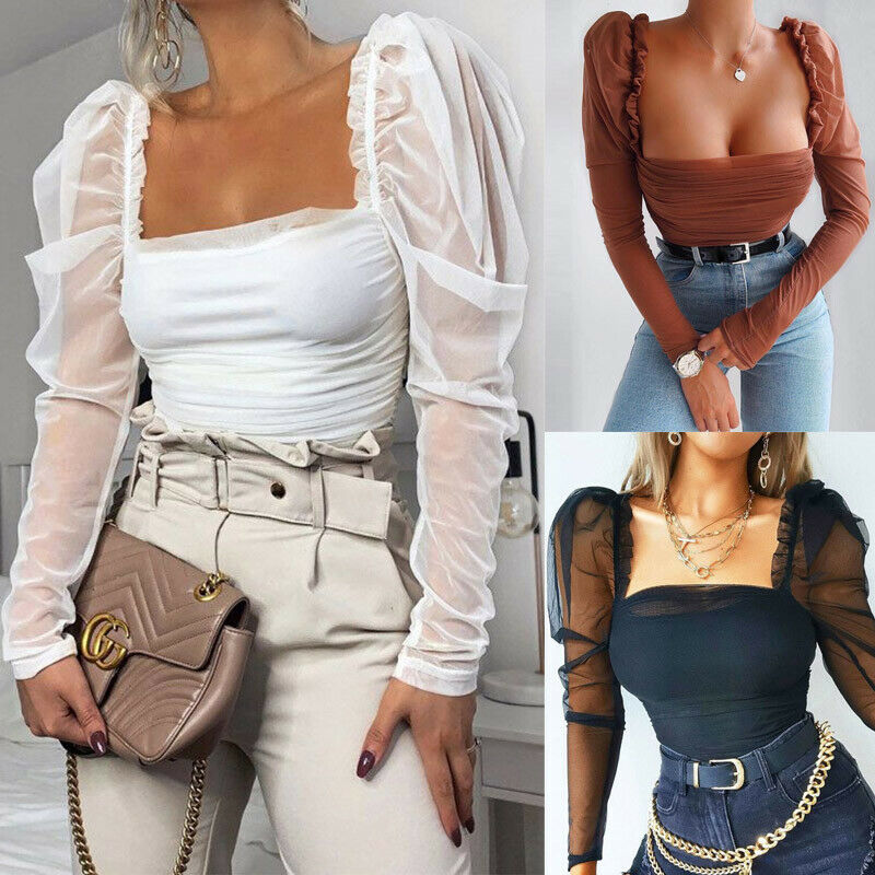 Women Sexy T Shirt Bodysuit Top Mesh Body Patchwork Puff Sleeve Ruched Blouse