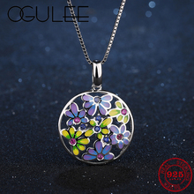 Best gift Forget me not flowers 925 Sterling Silver pendant necklace colorful Enamel fashion Party Jewelry charm pendants