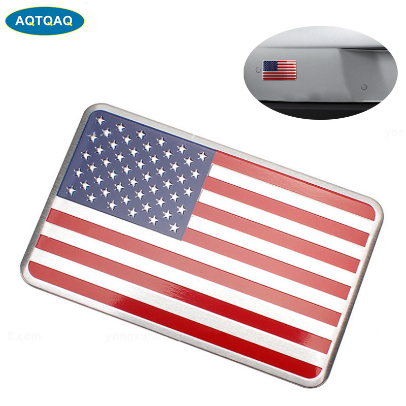 AQTQAQ Metal amerikan abd bayrak araba sticker logosu amblem rozeti araba Styling sticker