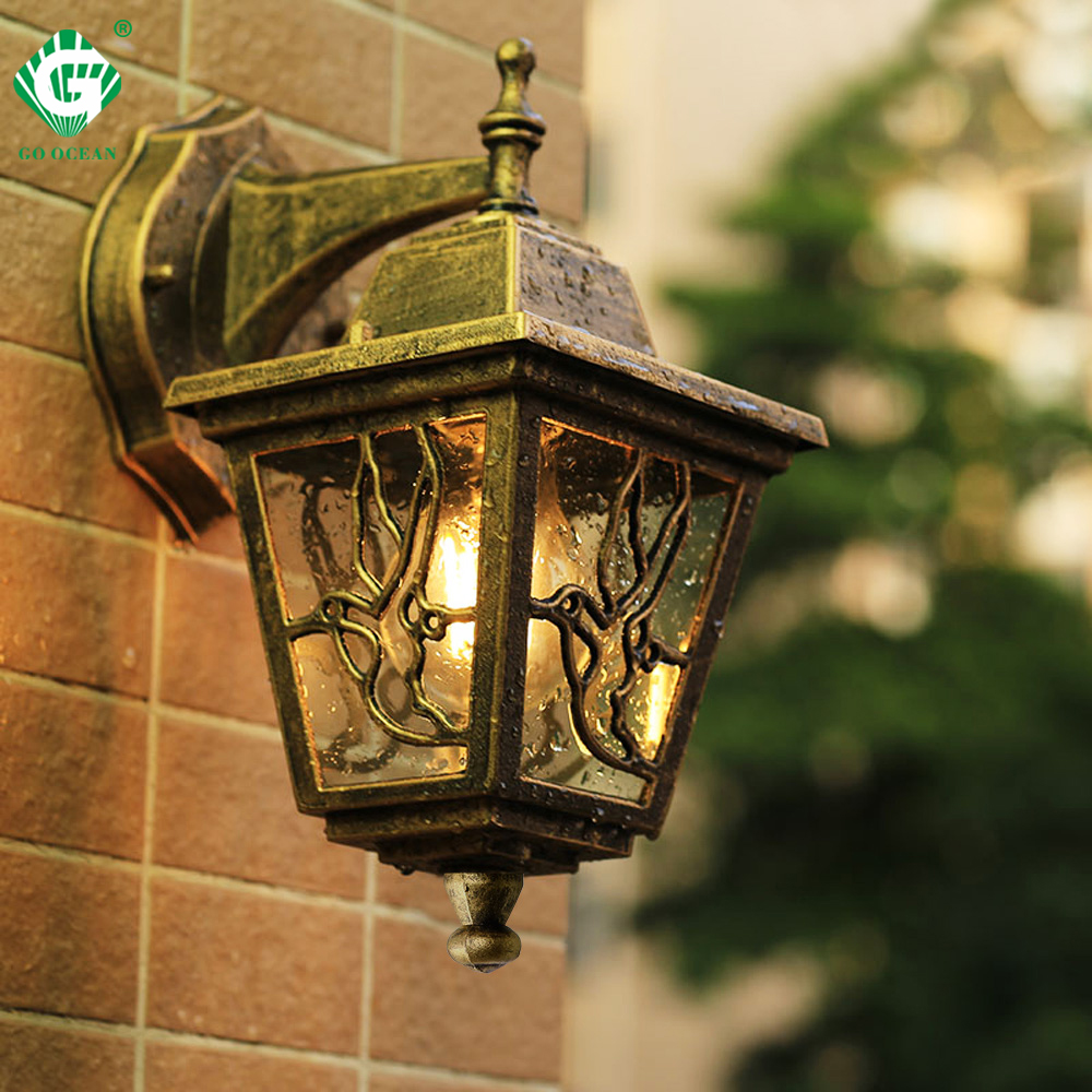 Led Garden Wall Light Outdoor Lighting Wall Lamps Outside Patio Bronze Exterior Sconces E27 Bulb Yard Street Waterproof Lamp Leather Bag