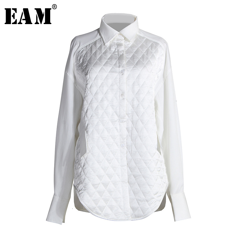 [EAM] Women White Brief Three-dimensional Blouse New Lapel Long Sleeve Loose Fit Shirt Fashion Tide Spring Autumn 2020 1N0200