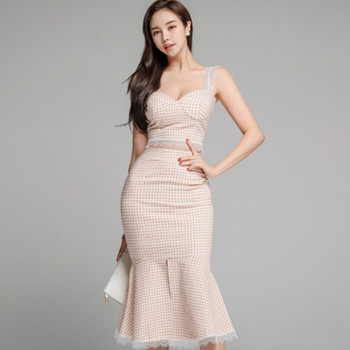 Summer Plaid Suits Sleeveless Straped Lace Patchwork Crop Top High Waist Bodycon Mid-Calf Fishtail Skirt Two Piece Sexy Dress