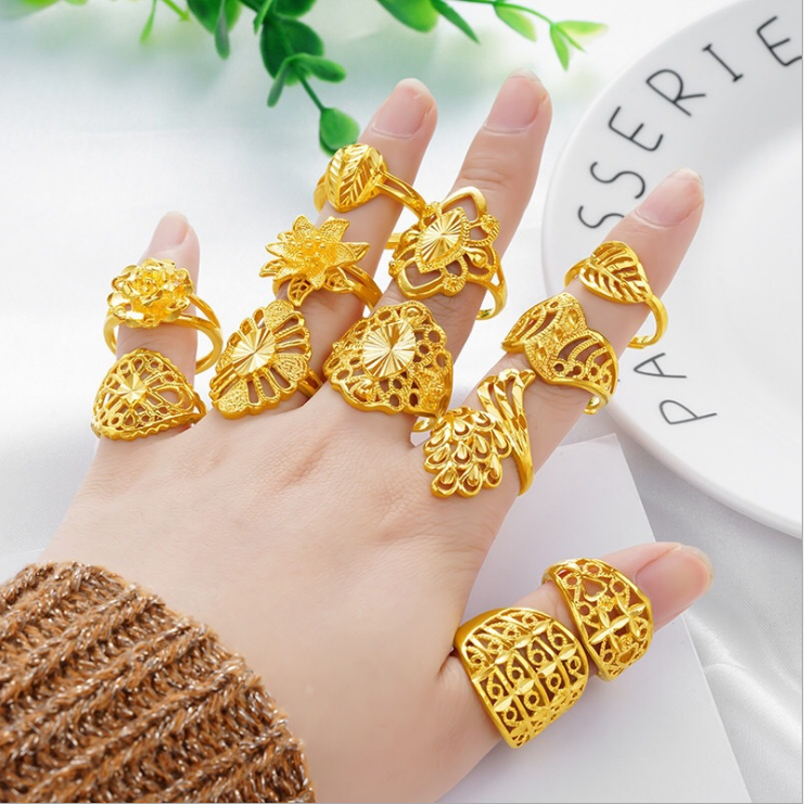 New Ethiopian Wedding Rings Arab Africa Middle East Women's Girls Gifts Gold Free Size Adjustable female Jewellery Wholeasle