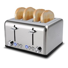 Home Full Automatic Toaster Bakery Toaster 4 Slices Slot Extra Wide Slot Toaster Stainless Steel Bread Toaster for Breakfast