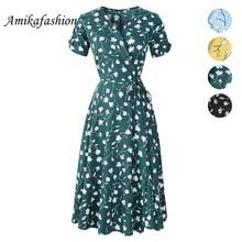 цена New Summer Print Floral Dress Women V Neck Short Sleeves Chiffon Bohemian Dresses Beach Midi Female Wrap Long Dress 2019 Y X B D онлайн в 2017 году