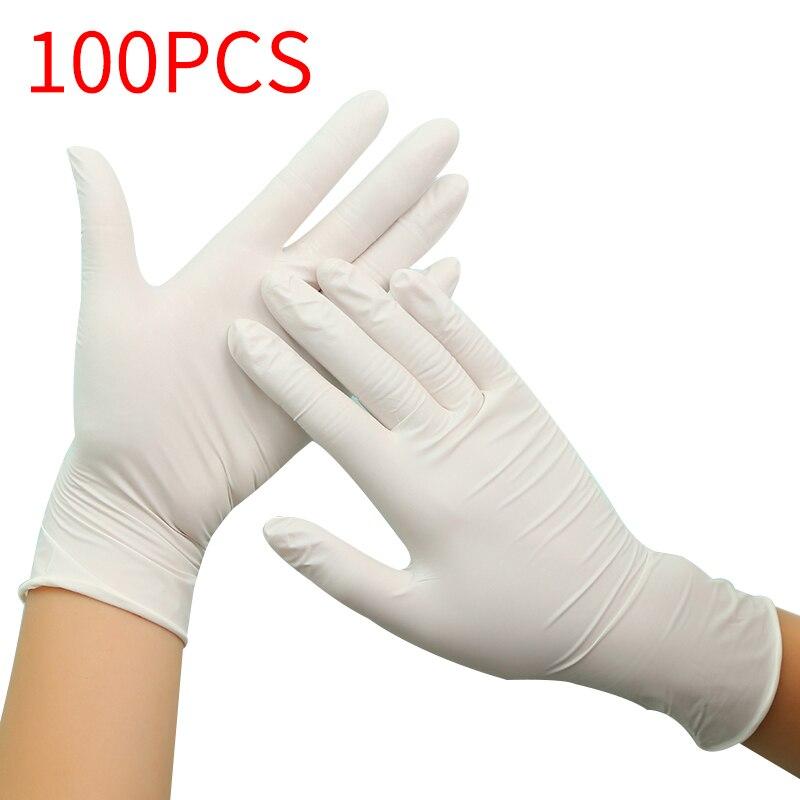 100 шт черные синие одноразовые латексные перчатки для домашней чистки нитриловые/пищевые/резиновые/садовые перчатки универсальные для лев... title=