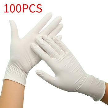 100 sztuk czarny niebieski jednorazowe rękawice lateksowe na sprzątanie domu medyczne jedzenie guma rękawice ogrodowe uniwersalne na lewą i prawą rękę tanie i dobre opinie XINCHEN