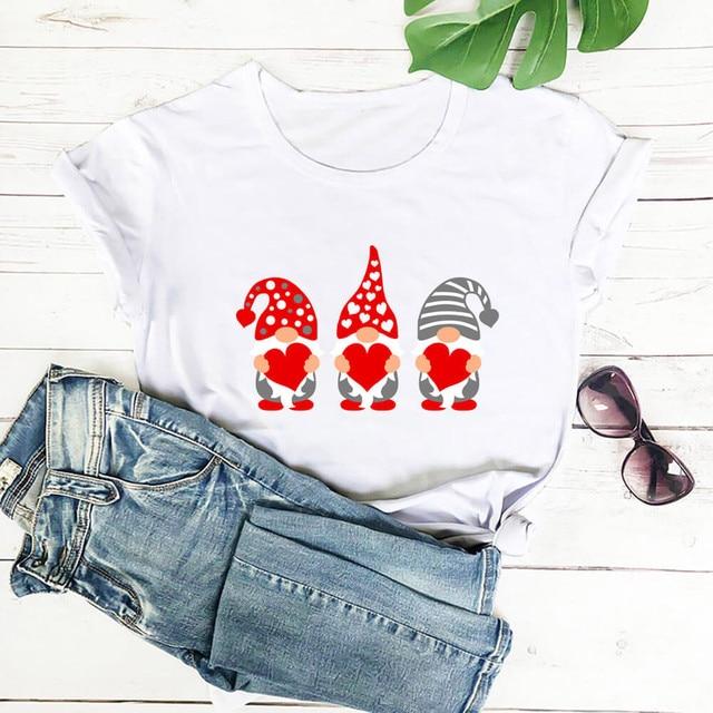 #S0 Women Harajuku Tshirt Love Assortis Gnome Print Round Neck Funny Kawaii T Shirt Graphic Tees Tops Valentine's Day Gift 5