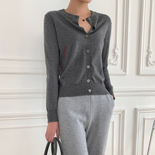 Knit Sweater Small Cardigan Love-Badge Embroidery Early-Spring Round-Neck Women New
