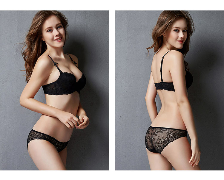 CINOON New Top Sexy underwear Set Push-up Bra And Panty Sets Embroidery Lace Brassiere Adjustable Straps Gathered Lingerie (9)