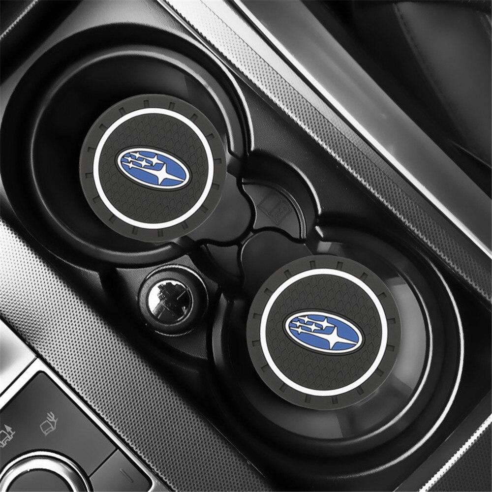 2PCS Car Water Cup Bottle Holder Anti-slip Pad Mat Silica Gel for Subaru Impreza Forester Tribeca XV BRZ Car Styling