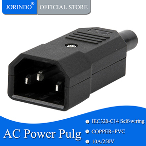 JORINDO IEC C14 Male Plug Rewirable Power Connector 3Pin IEC-C14 Socket Computer Power Cable Adapter 10A 250V Black