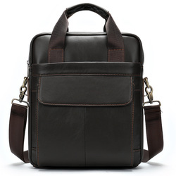 ¡Novedad de 2020! Bolso bandolera Vintage de cuero auténtico para hombre, bolso Retro con cremallera, bolso de negocios para hombre, Hop