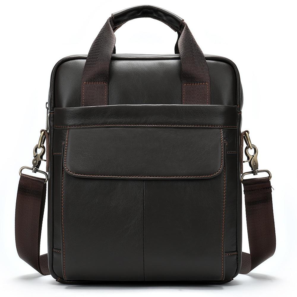 2020 New Vintage Crossbody Men's Shoulder Bag Real Leather Briefcases Bag Men's Bag Retro Zipper Business Men's Handbag Hop