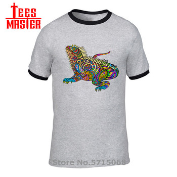 Colorful Iguana T shirt men Artsy Pattern Lizard T-shirt Haidi chameleon tshirt Sugar Lizard tee shirt rainbow gecko fun apparel image