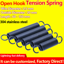 Open Hook Pullback Spring Tension Spring Coil Extension Spring Draught Spring Wire Diameter 2.5mm Outer Diameter 20mm 1Pcs