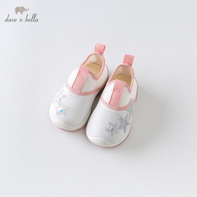 DB13784 Dave Bella Summer Baby Girl White Shoes New Born Girl Casual Shoes Print Brand Shoes