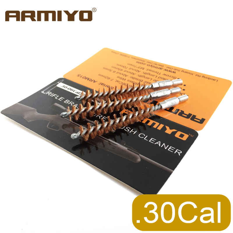 Armiyo .30Cal 7.62mm Hunting Rifle Cleaner Gun Barrel Brush One-piece Bore Cleaning Kit Fit AK Screw Thread 8-32
