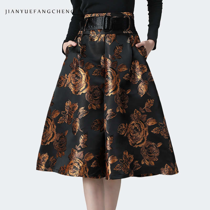 Vintage Floral Printed Women Winter Skirt High Waist A-Line Pleated Midi Skirts With Belt Pocket Plus Size Streetwear Tutu Skirt