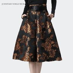 Vintage Floral Printed Women Winter Skirt High Waist A-Line Pleated Midi Skirts With Belt Pocket Plus Size Streetwear Tutu Skirt