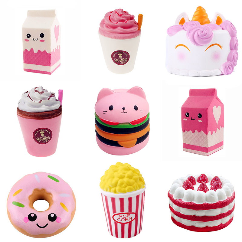 Antistress Squishy Hamburger Milkshake Squishe Donut Popcorn Toys Stress Relief Anti-Stress Practical Jokes Surprise Squshy Gift