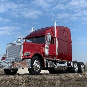 Eua caminhão trator 132 diecast metal liga veículo americano pesado reboque cabeça modelo brinquedos acessórios presentes montar
