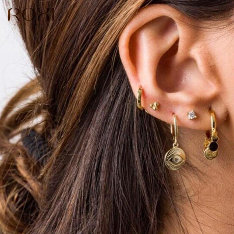 ROXI 2020 New Evil Eyes Earring 925 Sterling Silver Zircon Eyes Pendant Small Stud Earrings For Women Jewelry Hanging Earrings