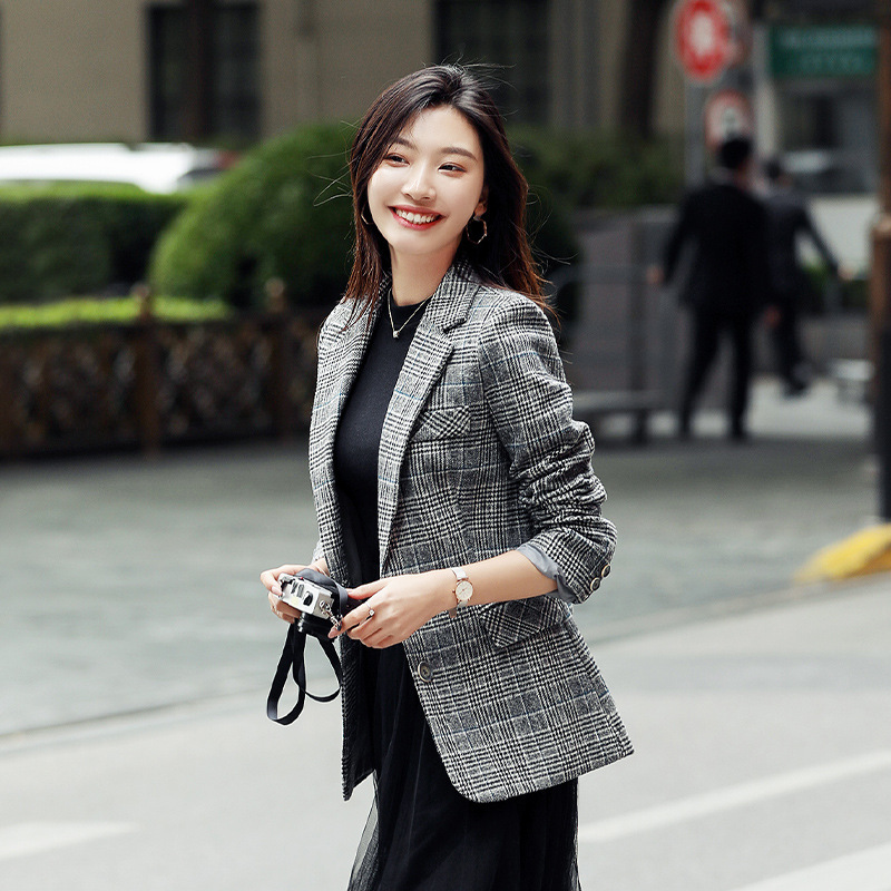 High quality casual plaid jacket female 2019 Korean version of the new autumn slim single-breasted women's blazer Office suit