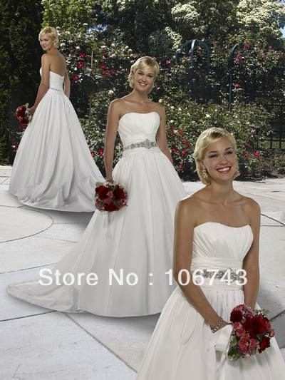 2016 Wrap A-line New Arrival Real Authentic Forever Yours Bridal Gown Custom Size Style Rhinestone Beaded Sashes Wedding Dresses