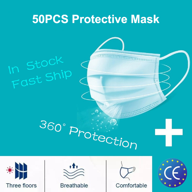 50pcs Men Women adult Cotton Anti Dust Mask Activated Filter 3 layers mouth mask muffle Bacteria Proof Flu Face Masks