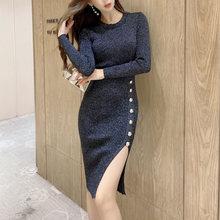Женское облегающее платье свитер ljsxls черное эластичное трикотажное