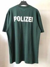 Vetements verde polizei camiseta homens mulheres polícia texto impressão logotipo vetements t voltar bordado carta vtm topos