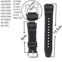 Rubber Strap Suitable for-Casio AE-1000w SGW-400H / SGW-300H Silicone Watchband Pin Buckle Strap Watch Wrist Bracelet Black
