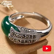 S925 Fine Antique shop Rings Unique Emerald Rings Luxury Taste Women Handmade Vintage Natural Chalcedony moldavite peridot Jade(China)