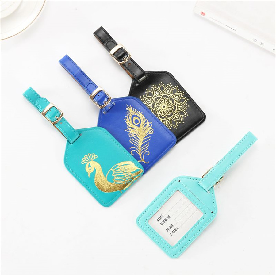 Jiexi Printing Flower Leather Suitcase Luggage Tag Label Bag Pendant Handbag Travel Accessories Name ID Address Tags LT11