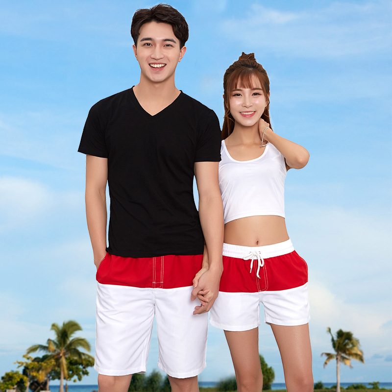 2018 Korean-style New Style Red And White Mixed Colors Lining 1808 Shorts Couples Beach Men And Women Breathable Quick-Dry Sport