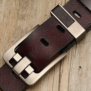 Image 5 - [LFMB] חגורת זכר עור חגורת גברים רצועת זכר עור אמיתי יוקרה פין אבזם חגורות גברים חגורת אבנטים ceinture homme