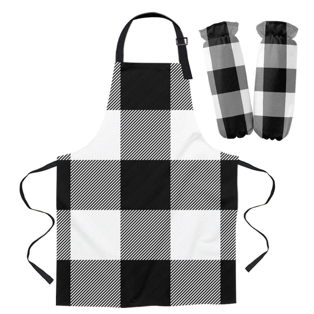 Black White Plaid Buffalo Check Kitchen Aprons Chef For Woman Kids Home Decor Apron Suit Gloves Cooking Baking Waist Bib Tool Aprons Aliexpress