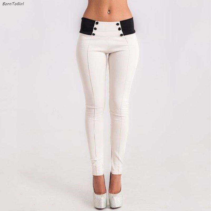 BornToGirl Elastic High Waist Sexy Skinny Pencil Leggings For Women Casual Black White Grey Thin Pants Leggings