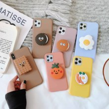 3D Cute Cartoon Cookies Soft Phone Case For iPhone X XR XS 11 Pro Max 6S 7 8 Plus Egg Tomato Broccoli Holder Back Cover