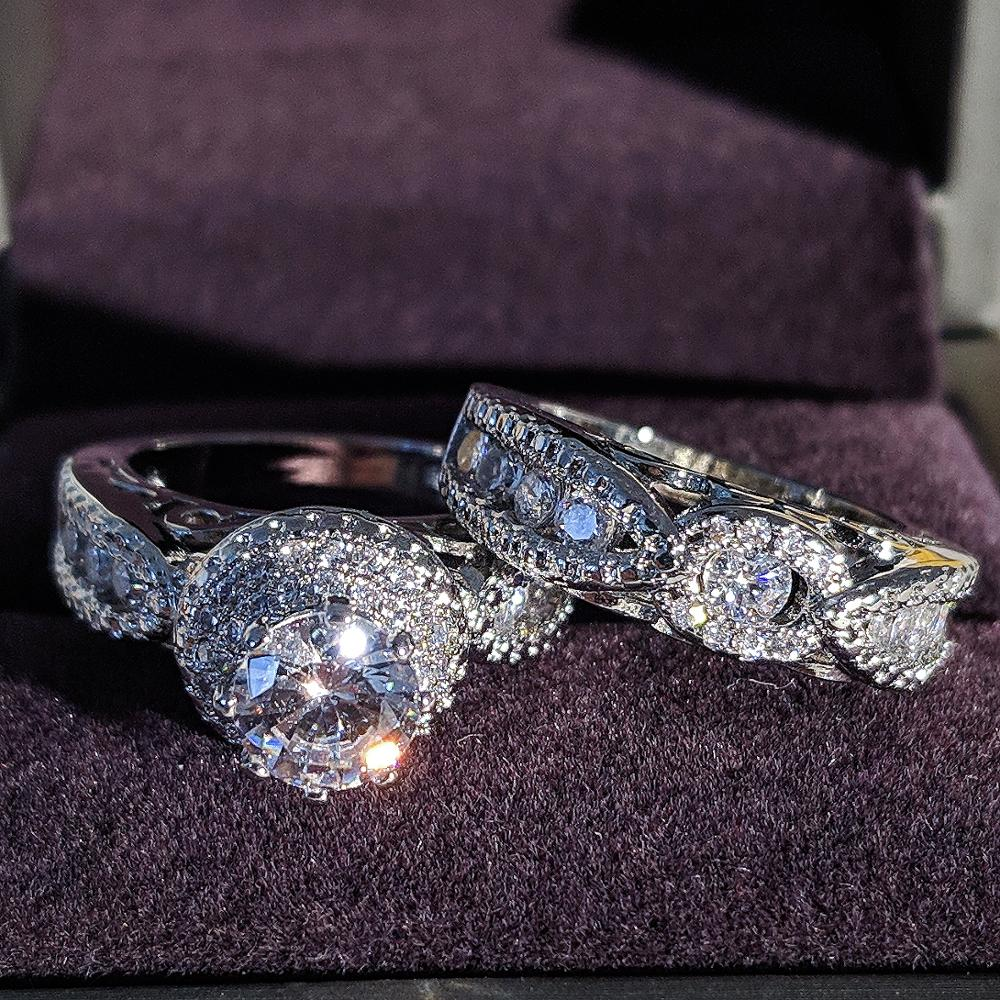2020 New Luxury Halo 925 Sterling Silver Wedding Ring Set For