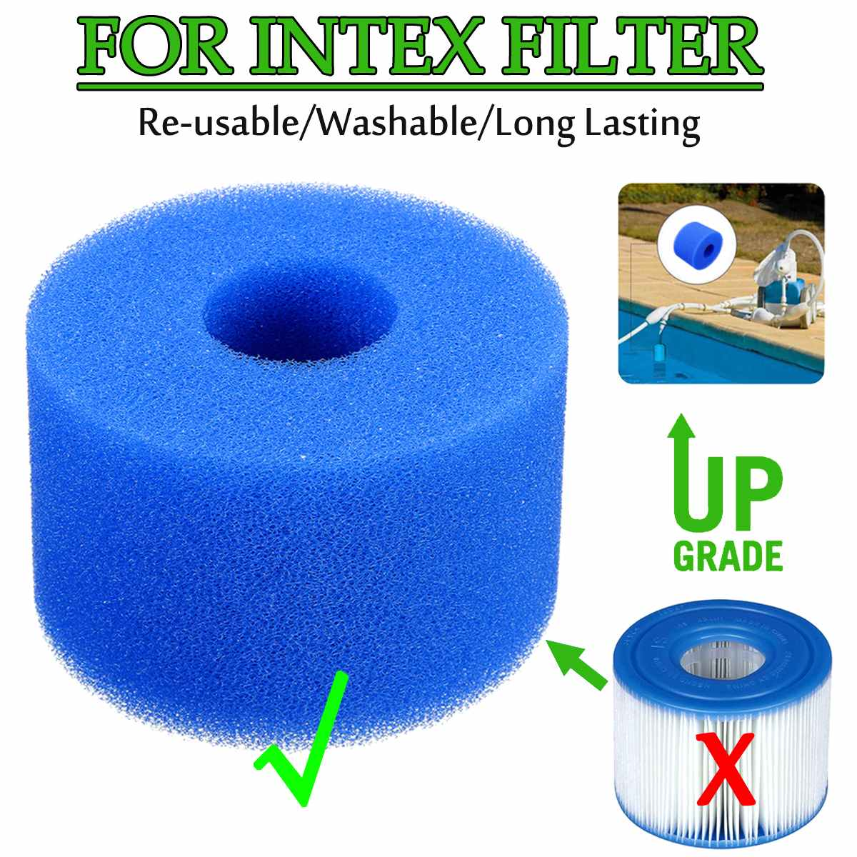 Swimming Pool Filter Foam Reusable Washable Sponge Cartridge Foam Suitable Bubble Jetted Pure SPA For Intex S1 Type Pool Filter